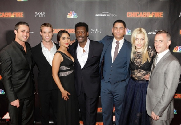Taylor Kinney, Jesse Spencer, Monica Raymund, Eamonn Walker, Charlie Barnett, Lauren German, and David Eigenberg  at  NBC's CHICAGO FIRE  World Premiere Event