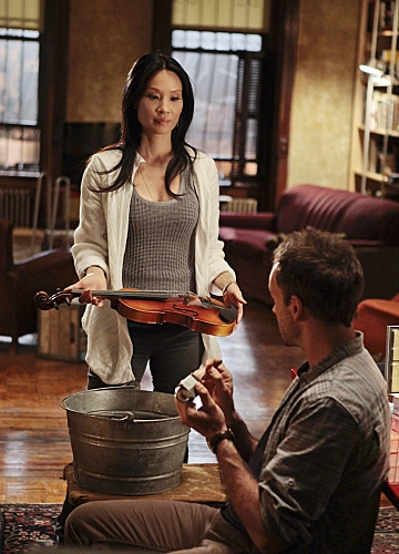Jonny Lee Miller,Lucy Liu at First Look - Tonight's ELEMENTARY on CBS