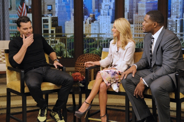 Ricky Martin, Kelly Ripa and Michael Strahan at Ricky Martin Talks EVITA on Live! With Kelly and Michael