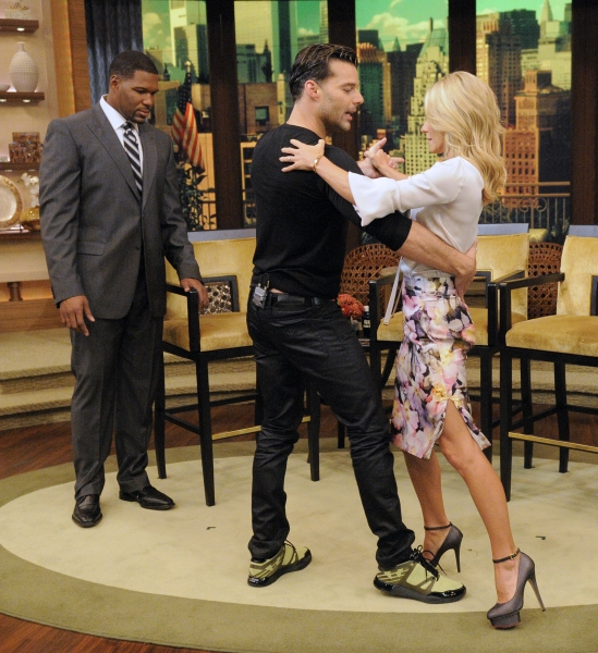 Michael Strahan, Ricky Martin and Kelly Ripa at Ricky Martin Talks EVITA on Live! With Kelly and Michael