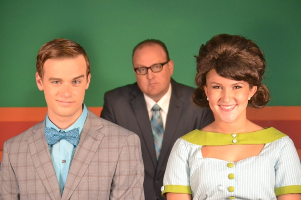 Nathan Jentink (Finch), Kevin Covert (J.B. Biggley), and Jennifer Maurer (Rosemary)