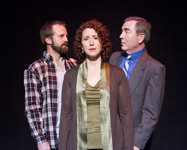 Becky (Rebecca Scholtec) leads a double life, with her husband Joe, (John Michael Graham, left) and the millionaire widower, Walter Flood (Jim Benda, right)