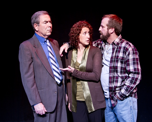 Things get complicated when the men in Becky's life, her husband, Joe (John Michael Graham, right), and the millionaire widower Walter Flood (Jim Benda, left), meet.