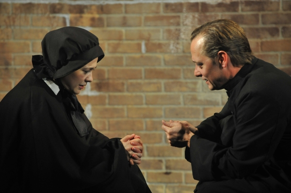 "Sadieh Rifai as ""Sister James"" and Lance Baker as ""Father Flynn"""
