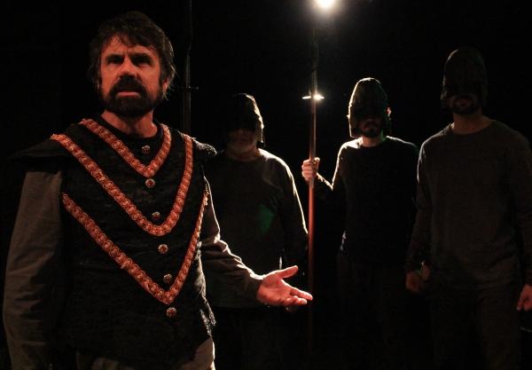 Clotaldo (David Grant) and the guards (Steve Garfinkel, Bobby Haworth, and Justin O'Brien)