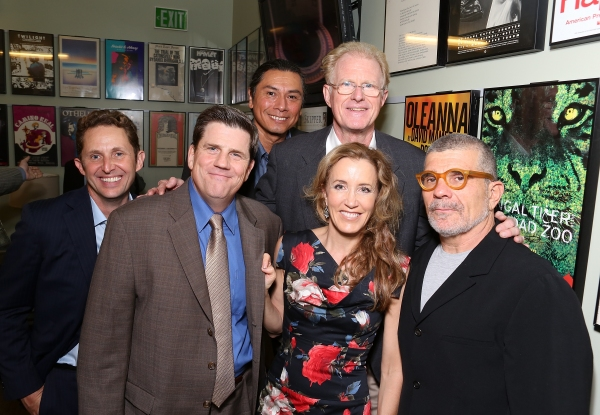 "From left, cast members Todd Weeks, Rod McLachlan, Gregory Cruz, Felicity Huffman, Ed Begley, Jr. and playwright David Mamet backstage after the opening night performance of ""November"" at the Center Theatre Group/Mark Taper Forum on Sunday, Oct. 7, 2012,"