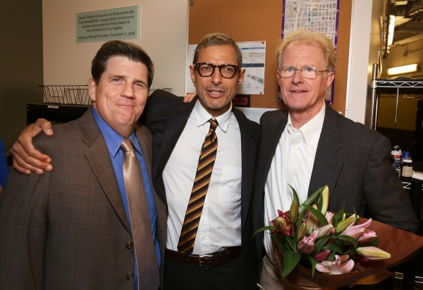 "From left, cast member Rod McLachlan, actor Jeff Goldblum and cast member Ed Begley, Jr. pose backstage after the opening night performance of ""November"" at the Center Theatre Group/Mark Taper Forum on Sunday,  Oct. 7, 2012, in Los Angeles, Calif. (Photo"