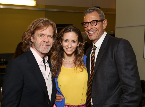"From left, actor William H. Macy, Emilie Livingston and Jeff Goldblum pose backstage after the opening night performance of ""November"" at the Center Theatre Group/Mark Taper Forum on Sunday,  Oct. 7, 2012, in Los Angeles, Calif. (Photo by Ryan Miller/Capt"