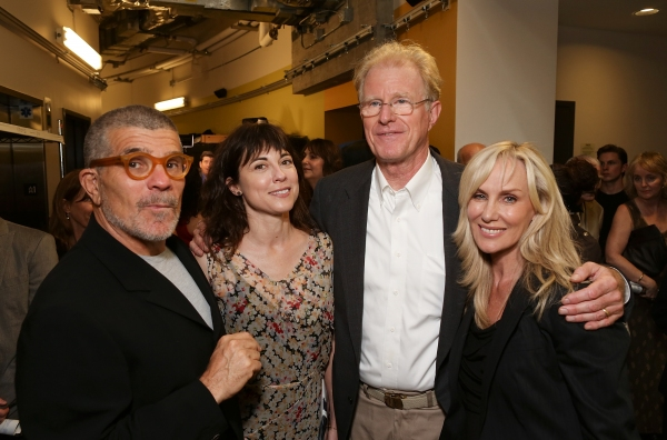 From left, playwright David Mamet, actress Rebecca Pidgeon, cast member Ed Begley, Jr. and actress Rachelle Carson-Begley pose backstage after the opening night performance of 'November' at the Center Theatre Group/Mark Taper Forum on Sunday,  Oct. 7, 201 at NOVEMBER Opens in LA - Starry Arrivals, Curtain Call and More!