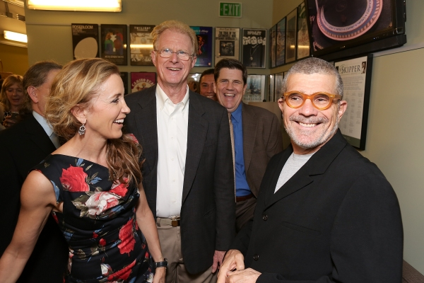 "From left, cast members Felicity Huffman, Ed Begley, Jr., Rod McLachlan and playwright David Mamet talk backstage after the opening night performance of ""November"" at the Center Theatre Group/Mark Taper Forum on Sunday, Oct. 7, 2012, in Los Angeles, Cali"