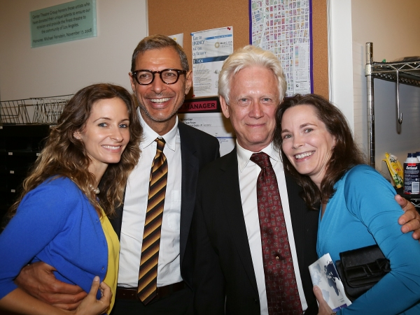 "From left, Emilie Livingston, actor Jeff Goldblum, actor Bruce Davison and Michele Correy pose backstage after the opening night performance of ""November"" at the Center Theatre Group/Mark Taper Forum on Sunday, Oct. 7, 2012, in Los Angeles, Calif. (Photo"