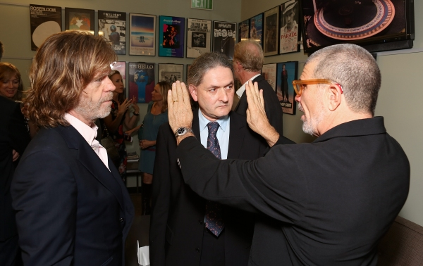 "From left, actor William H. Macy, director Scott Zigler and playwright David Mamet talk backstage after the opening night performance of ""November"" at the Center Theatre Group/Mark Taper Forum on Sunday, Oct. 7, 2012, in Los Angeles, Calif. (Photo by Rya"