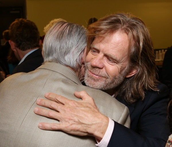 From right, actor William H. Macy hugs actor Jack Wallace backstage after the opening night performance of 'November' at the Center Theatre Group/Mark Taper Forum on Sunday, Oct. 7, 2012, in Los Angeles, Calif. (Photo by Ryan Miller/Capture Imaging)