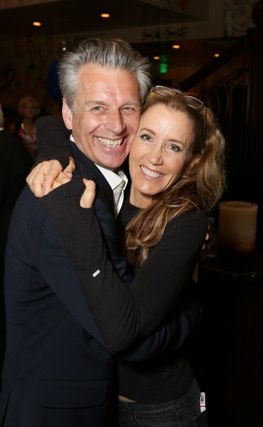 "From left, CTG Artistic Director Michael Ritchie and cast member Felicity Huffman pose during the party for the opening night performance of ""November"" at the Center Theatre Group/Mark Taper Forum on Sunday, Oct. 7, 2012, in Los Angeles, Calif. (Photo by"