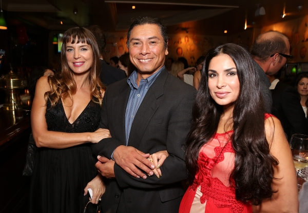 "From left, actress Sandra Vidal, cast member Gregory Cruz and Saye Yabandeh during the party for the opening night performance of ""November"" at the Center Theatre Group/Mark Taper Forum on Sunday, Oct. 7, 2012, in Los Angeles, Calif. (Photo by Ryan Mille"