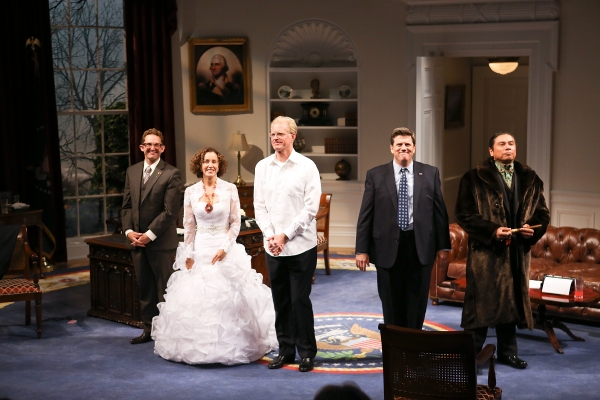 "From left, cast members Todd Weeks, Felicity Huffman, Ed Begley, Jr., Rod McLachlan and Gregory Cruz take their curtain call after the opening night performance of ""November"" at the Center Theatre Group/Mark Taper Forum on Sunday, Oct. 7, 2012, in Los An"