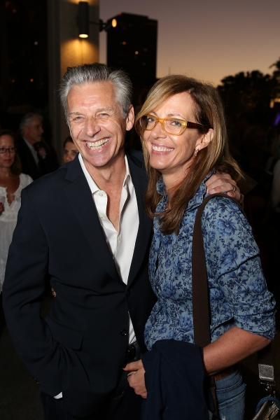 "From left, CTG Artistic Director Michael Ritchie and Allison Janney pose during the arrivals for the opening night performance of ""November"" at the Center Theatre Group/Mark Taper Forum on Sunday, Oct. 7, 2012, in Los Angeles, Calif. (Photo by Ryan Mille"