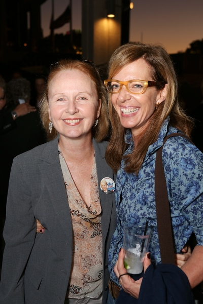 From left, Actresses Kate Burton and Allison Janney pose during the arrivals for the opening night performance of 'November' at the Center Theatre Group/Mark Taper Forum on Sunday, Oct. 7, 2012, in Los Angeles, Calif. (Photo by Ryan Miller/Capture Imagin