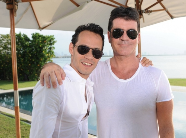 Marc Anthony,Simon Cowell at First Look - Bieber, Jonas, Anthony on X FACTOR 'Judges Homes' Round