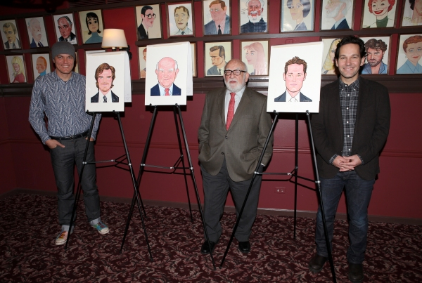 Michael Shannon; Ed Asner and Paul Rudd attending the caricature unveiling and celebration for the cast of Broadway's 'Grace' at Sardi's on October 9, 2012 in New York City