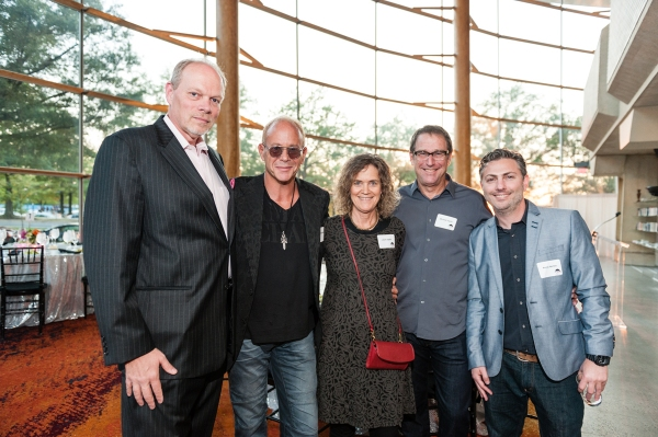 Arena Stage Executive Director Edgar Dobie; playwright-director Randy Johnson; Laura and Michael Joplin; and Kenny Nemes of JAM, Inc. at ONE NIGHT WITH JANIS JOPLIN Opening at Arena Stage