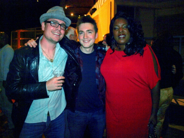 Band members David Milne and Gavriel de Tarr with Sabrina Elayne Carten, who plays the Blues Singer at ONE NIGHT WITH JANIS JOPLIN Opening at Arena Stage
