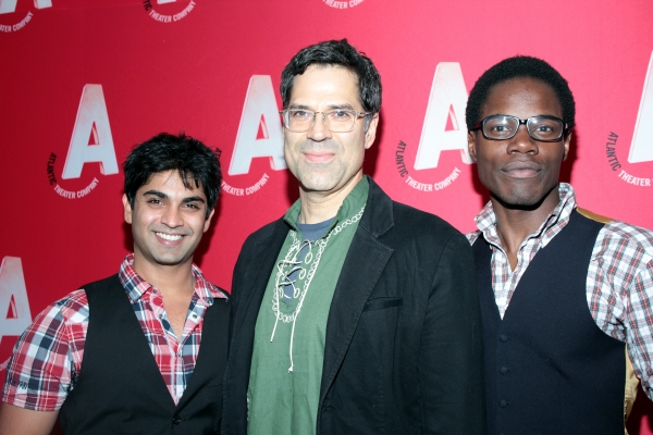 Vandit Bhatt, Christopher Innvar, Stephen Tyrone Williams at Inside Opening Night of Atlantic Theater Company's HARPER REGAN