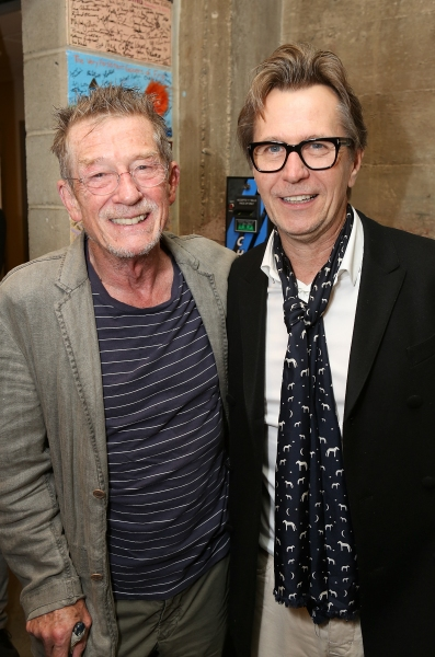 "From left, cast member John Hurt and actor Gary Oldman pose backstage after the opening night performance of ""Krapp's Last Tape"" at Center Theatre Group's Kirk Douglas Theatre on Wednesday,  Oct. 10, 2012, in Culver City, Calif. (Photo by Ryan Miller/Capt"