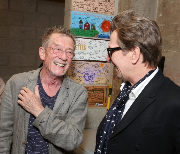 "From left, cast member John Hurt is greeted by actor Gary Oldman backstage after the opening night performance of ""Krapp's Last Tape"" at Center Theatre Group's Kirk Douglas Theatre on Wednesday,  Oct. 10, 2012, in Culver City, Calif. (Photo by Ryan Miller"
