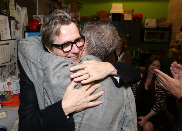 """From left, actor Gary Oldman hugs cast member John Hurt backstage after the opening night performance of """"Krapp's Last Tape"""" at Center Theatre Group's Kirk Douglas Theatre on Wednesday,  Oct. 10, 2012, in Culver City, Calif. (Photo by Ryan Miller/Capture"""