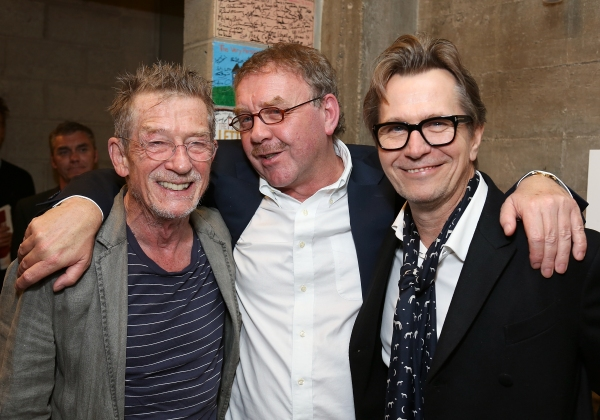 "From left, cast member John Hurt, director Michael Colgan and actor Gary Oldman pose backstage after the opening night performance of ""Krapp's Last Tape"" at Center Theatre Group's Kirk Douglas Theatre on Wednesday,  Oct. 10, 2012, in Culver City, Calif. ("