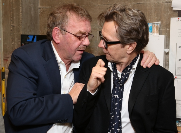 """From left, director Michael Colgan and actor Gary Oldman pose backstage after the opening night performance of """"Krapp's Last Tape"""" at Center Theatre Group's Kirk Douglas Theatre on Wednesday,  Oct. 10, 2012, in Culver City, Calif. (Photo by Ryan Miller/Ca"""