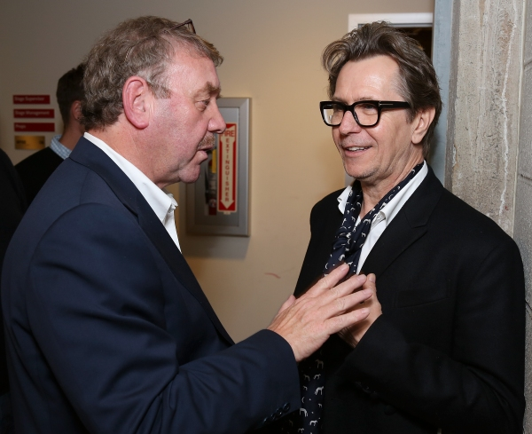 """From left, director Michael Colgan and actor Gary Oldman talk backstage after the opening night performance of """"Krapp's Last Tape"""" at Center Theatre Group's Kirk Douglas Theatre on Wednesday,  Oct. 10, 2012, in Culver City, Calif. (Photo by Ryan Miller/Ca"""