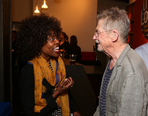 From left, actress Charlayne Woodard congratulates cast member John Hurt during the party for the opening night performance of 'Krapp's Last Tape' at Center Theatre Group's Kirk Douglas Theatre on Wednesday,  Oct. 10, 2012, in Culver City, Calif. (Photo b at John Hurt, Gary Oldman, Peter Asher and More at KRAPP'S LAST TAPE's Opening in LA!