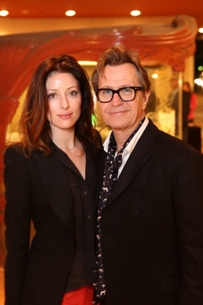 "From left, Alexandra Edenborough and actor Gary Oldman pose during the arrivals for the opening night performance of ""Krapp's Last Tape"" at Center Theatre Group's Kirk Douglas Theatre on Wednesday,  Oct. 10, 2012, in Culver City, Calif. (Photo by Ryan Mil"