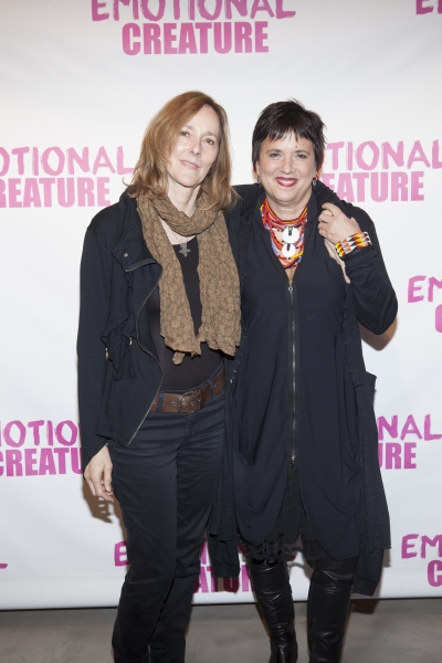 Jo Bonney and Eve Ensler at Cast of EMOTIONAL CREATURE Meets The Press!