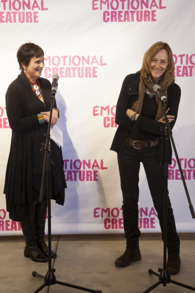 Eve Ensler and Jo Bonney at Cast of EMOTIONAL CREATURE Meets The Press!
