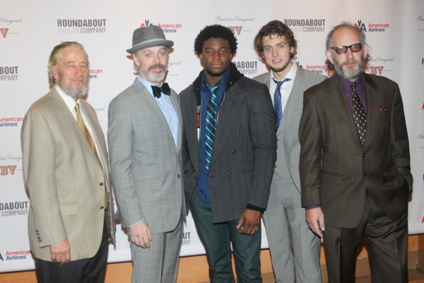 Bill Buell, Tim McGeever, Okieriete Onaodowan, Jack Cutmore-Scott and Max Baker  at CYRANO DE BERGERAC Opening Night Cast Party!