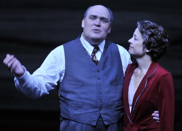 (Left to Right) Glenn Fleshler as Willy Loman and Josie de Guzman as Linda.