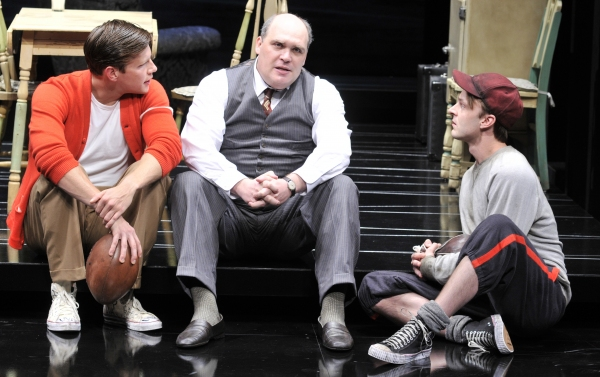 (Left to Right) Zachary Spicer as Biff, Glenn Fleshler as Willy Loman and Jay Sullivan as Happy.