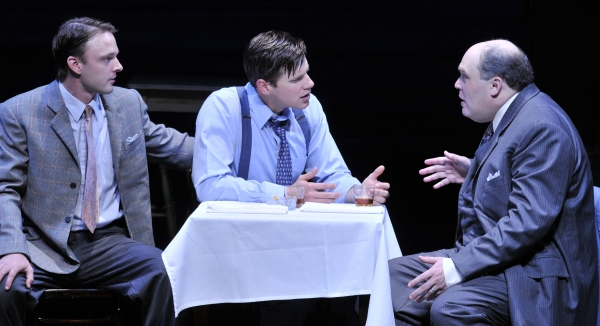 (Left to Right) Jay Sullivan as Happy, Zachary Spicer as Biff and Glenn Fleshler as Willy Loman.