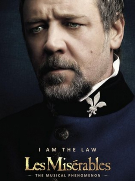 Russell Crowe as Javert at LES MISERABLES Film Posters - Hugh Jackman, Russell Crowe, Amanda Seyfried and Anne Hathaway!