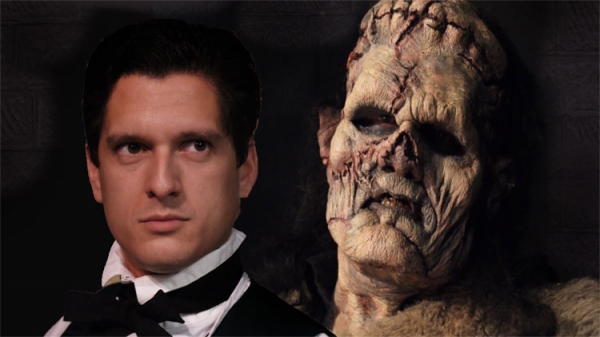 Louis Crespo as Victor Frankenstein and Michael Raabe as The Creature.