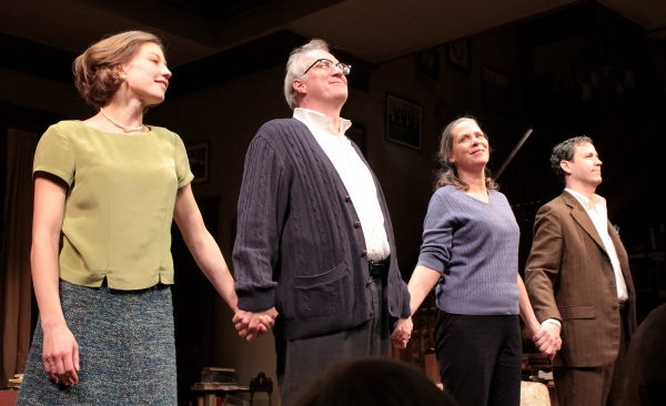 Carrie Coon, Tracy Letts, Amy Morton, Madison Dirks at WHO'S AFRAID OF VIRGINIA WOOLF? Opening Night Curtain Call with Edward Albee!