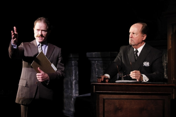 Clark Carmichael (as Dr. Winbourne, left) and John C. Vennema (as Judge, right)