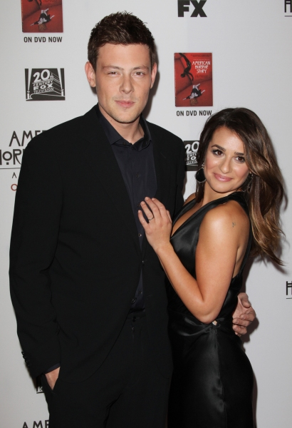 Cory Monteith and Lea Michele at Stars Come Out for Season 2 Premiere of FX's AMERICAN HORROR STORY