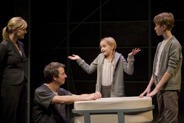 From left to right: Diana Dresser (Mother), Timothy McCracken (Father), Amelia Modesitt (Lily) and Jackson Garske (Jonas)
