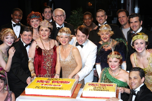Michael McGrath, Judy Kaye, Kelli O'Hara, Matthew Broderick, Estelle Parsons and Company at NICE WORK IF YOU CAN GET IT Celebrates 200th Performance