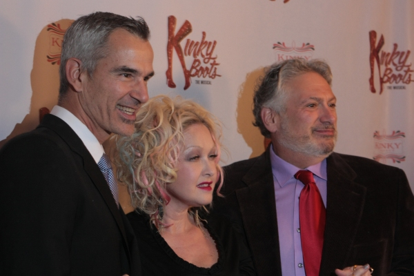 Jerry Mitchell, Cyndi Lauper and Harvey Fierstein at First Look at Opening Night of Chicago's KINKY BOOTS