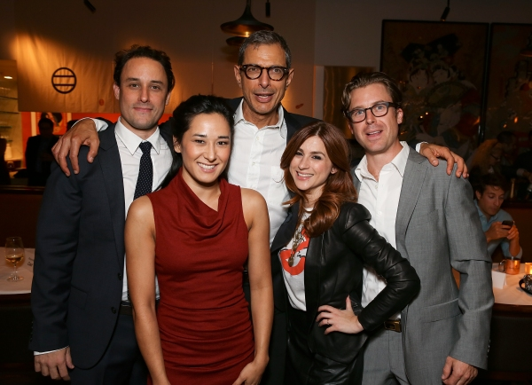 "From left, cast members Greg Keller, Jennifer Ikeda, Jeff Goldblum, Aya Cash and Lucas Near-Verbrugghe pose during the party for the opening night performance of ""Seminar"" at the Center Theatre Group/Ahmanson Theatre on 17,  Oct. 17, 2012, in Los Angeles,"